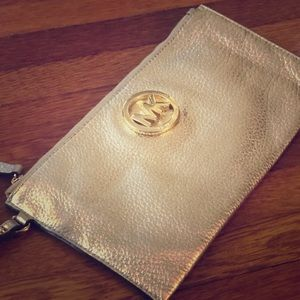 Michael Kors Gold Metallic Leather Clutch